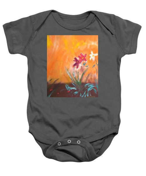 Baby Onesie featuring the painting The Three Daisies by Winsome Gunning