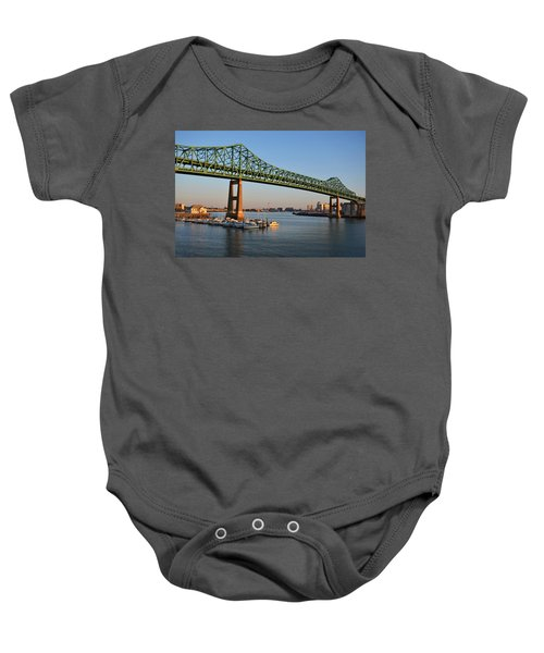 The Tobin Bridge Into The Sunset Chelsea Yacht Club Baby Onesie
