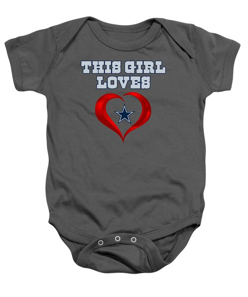 This Girl Loves Dallas Cowboy Baby Onesie by Ming Chandra