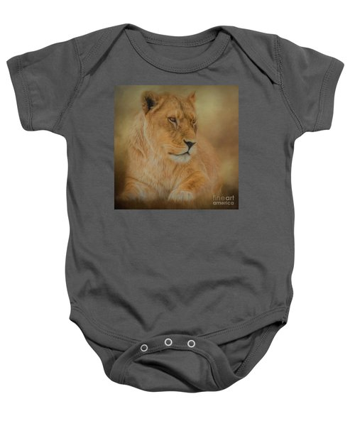 Thoughtful Lioness - Square Baby Onesie