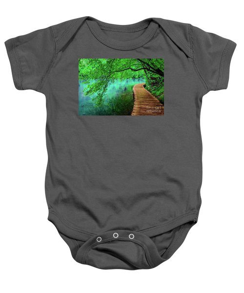 Tree Hanging Over Turquoise Lakes, Plitvice Lakes National Park, Croatia Baby Onesie