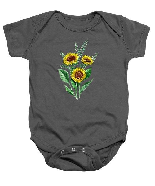 Three Playful Sunflowers Baby Onesie
