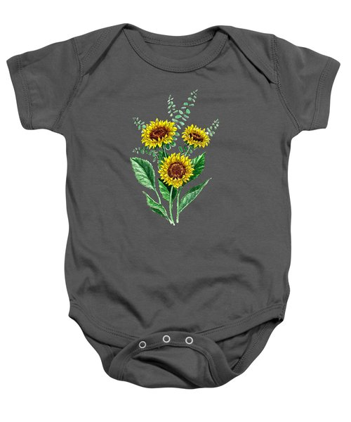 Three Playful Sunflowers Baby Onesie