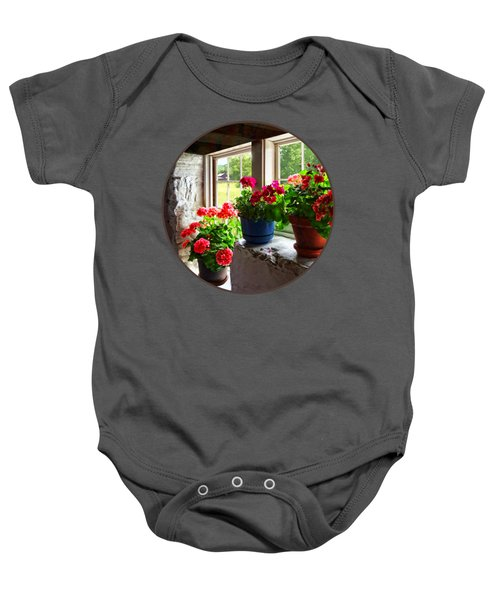 Three Pots Of Geraniums On Windowsill Baby Onesie