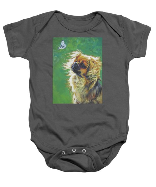 Tibetan Spaniel And Cabbage White Butterfly Baby Onesie by Lee Ann Shepard