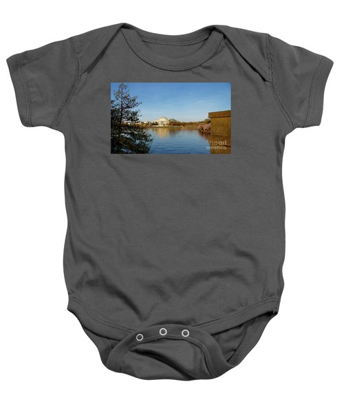 Tidal Basin And Jefferson Memorial Baby Onesie by Megan Cohen