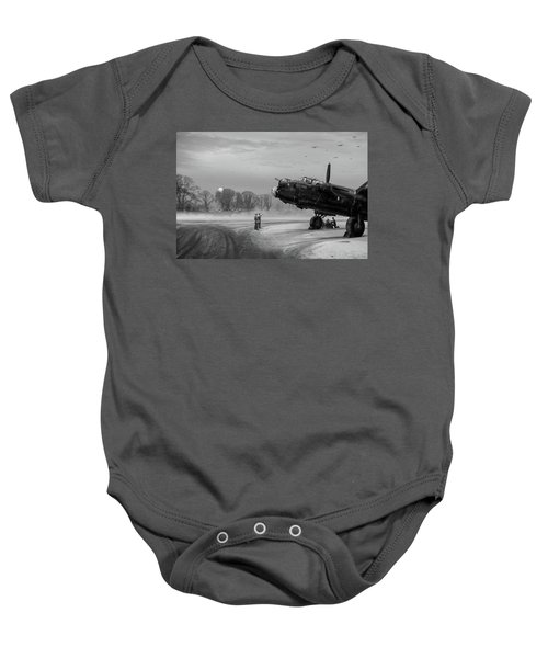 Baby Onesie featuring the photograph Time To Go - Lancasters On Dispersal Bw Version by Gary Eason