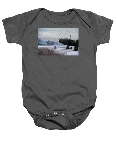 Baby Onesie featuring the photograph Time To Go - Lancasters On Dispersal by Gary Eason