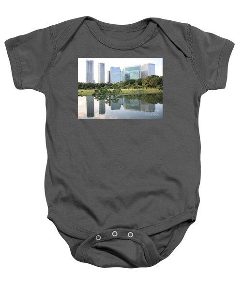 Tokyo Skyline Reflection Baby Onesie by Carol Groenen