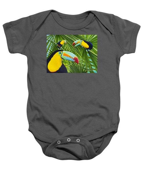Toucan Threesome Baby Onesie