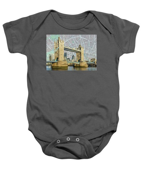 Baby Onesie featuring the digital art Tower Bridge by Adam Spencer