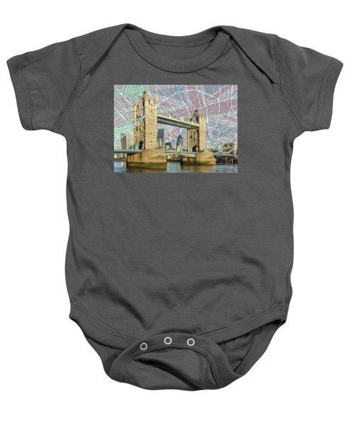 Baby Onesie featuring the digital art Tower Bridge With Union Jack by Adam Spencer