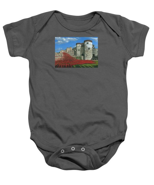 Tower Of London Poppies - Blood Swept Lands And Seas Of Red  Baby Onesie by Richard Harpum