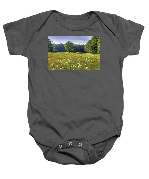 Tractor In Field With Flowers Baby Onesie