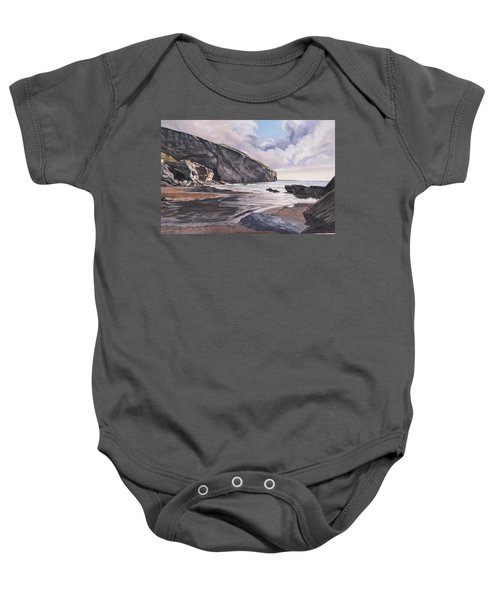 Baby Onesie featuring the painting Trebarwith Strand by Lawrence Dyer
