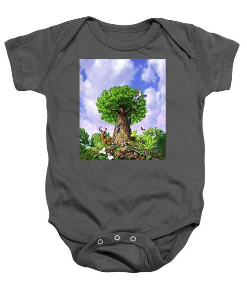 Tree Of Life Baby Onesie by Jerry LoFaro