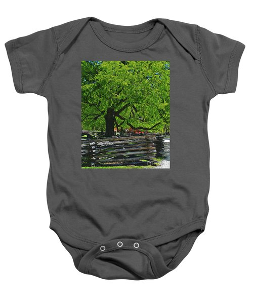Tree With Colonial Fence Baby Onesie