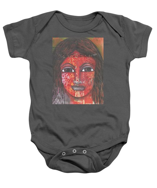 Baby Onesie featuring the mixed media Tribal Woman by Prerna Poojara