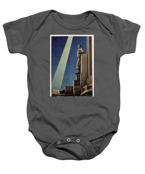 Trieste, Italy - View Of The Statue Of A Man - Retro Travel Poster - Vintage Poster Baby Onesie