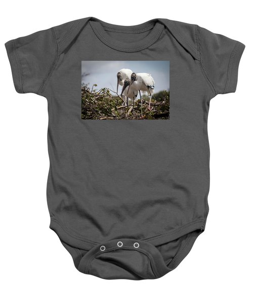 Trio Of Wood Storks Baby Onesie