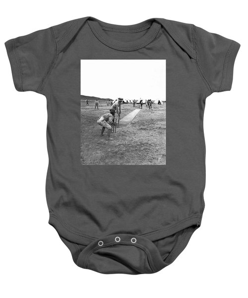 Troops Playing Cricket Baby Onesie by Underwood Archives