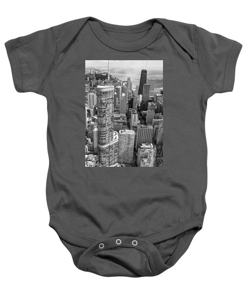 Trump Tower And John Hancock Aerial Black And White Baby Onesie