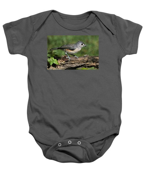 Tufted Titmouse On Tree Branch Baby Onesie