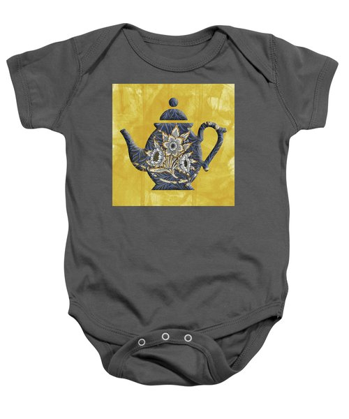 Tulips And Willow Pattern Teapot Baby Onesie