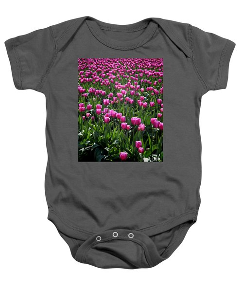 Baby Onesie featuring the photograph Purple Tulips by Peter Simmons