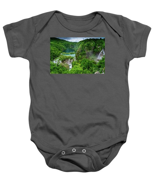 Turquoise Lakes And Waterfalls - A Dramatic View, Plitivice Lakes National Park Croatia Baby Onesie