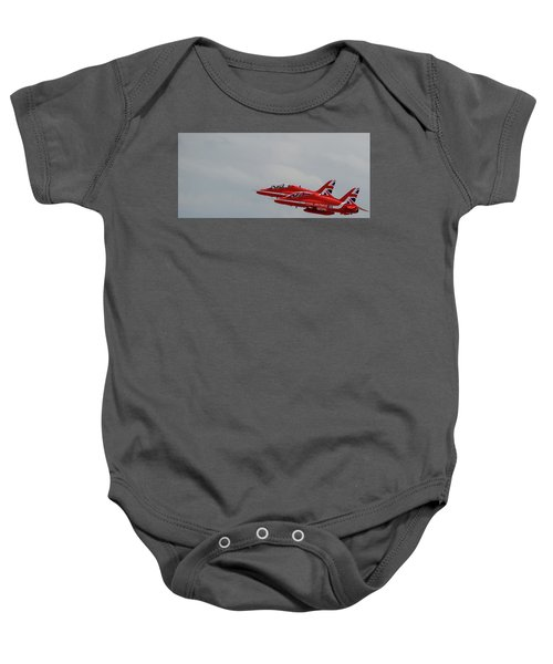 Twin Red Arrows Taking Off - Teesside Airshow 2016 Baby Onesie
