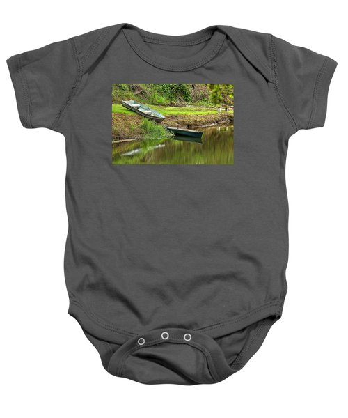 Two Boats And A Bench 1024 Baby Onesie