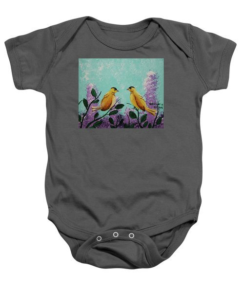 Two Chickadees Standing On Branches Baby Onesie