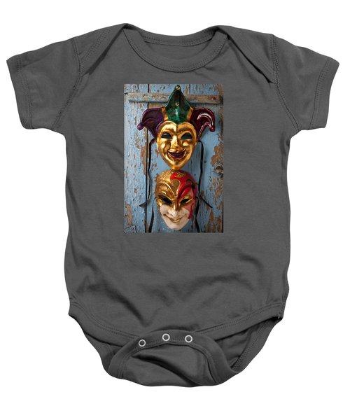 Two Decortive Masks Baby Onesie