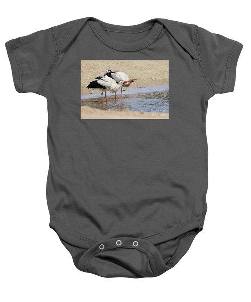 Two Drinking White Storks Baby Onesie