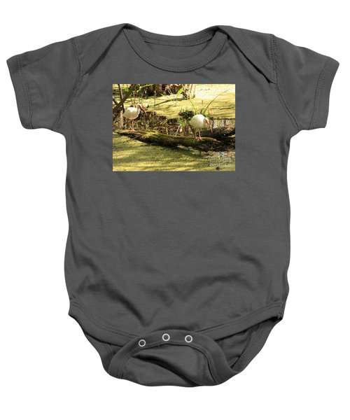 Two Ibises On A Log Baby Onesie by Carol Groenen