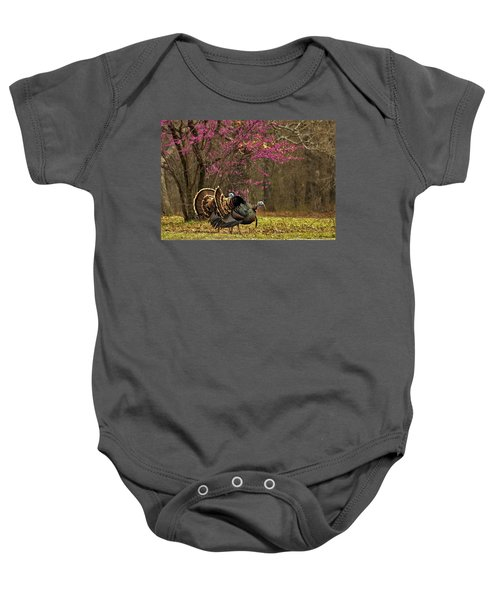 Two Tom Turkey And Redbud Tree Baby Onesie