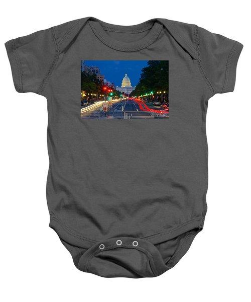 United States Capitol Along Pennsylvania Avenue In Washington, D.c.   Baby Onesie