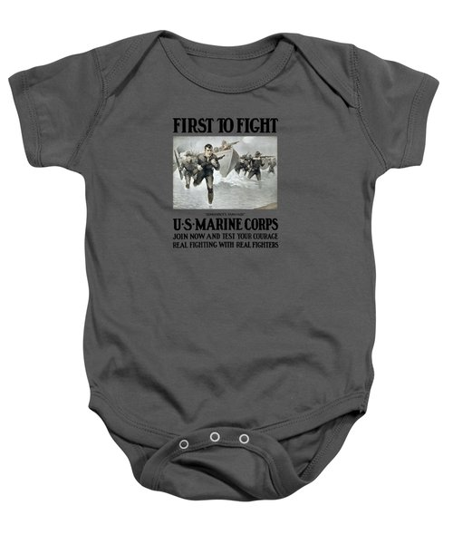 Us Marine Corps - First To Fight  Baby Onesie