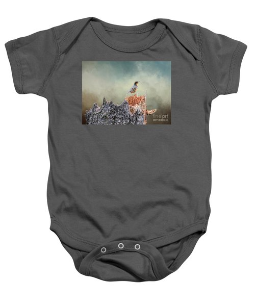 Varied Thrush On A Dead Tree Baby Onesie