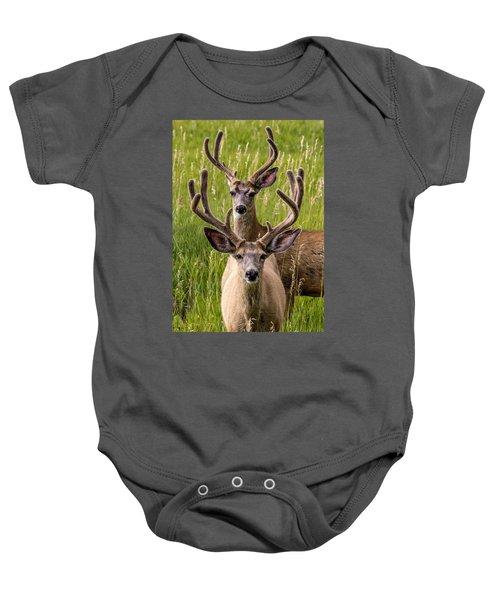 Velvet Bucks Baby Onesie