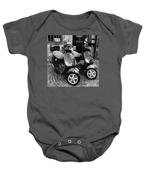 Vespa Twins Black And White Baby Onesie