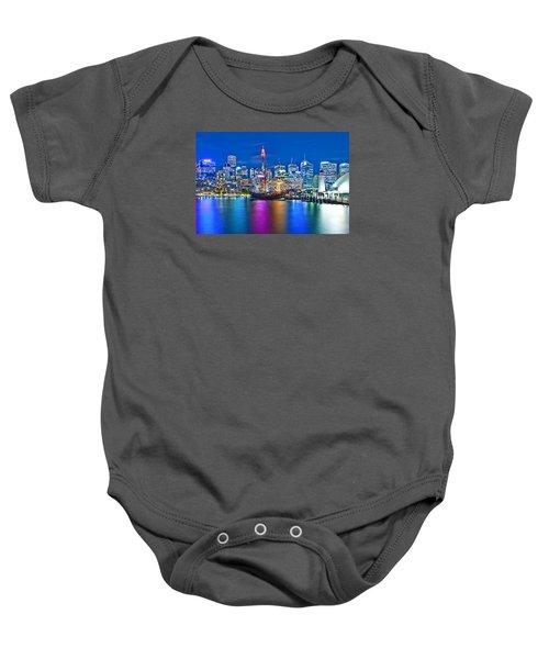 Vibrant Darling Harbour Baby Onesie by Az Jackson