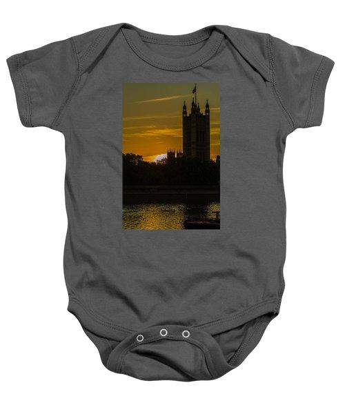 Victoria Tower In London Golden Hour Baby Onesie