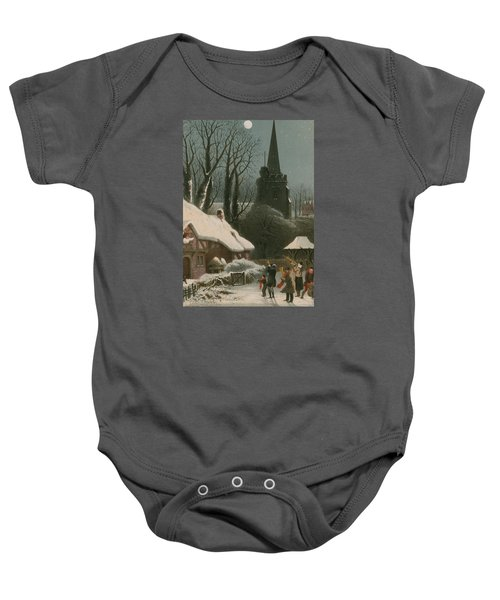 Victorian Christmas Scene With Band Playing In The Snow Baby Onesie