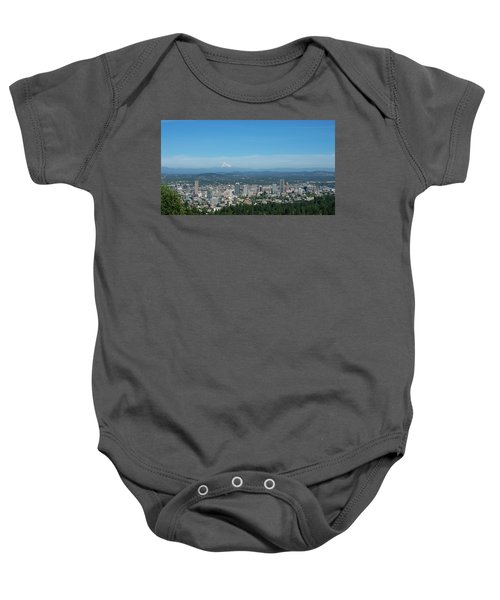 View Of Downtown Portland Oregon From Pittock Mansion Baby Onesie