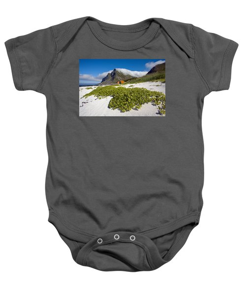 Vikten Beach With Green Grass, Mountains And Clouds Baby Onesie