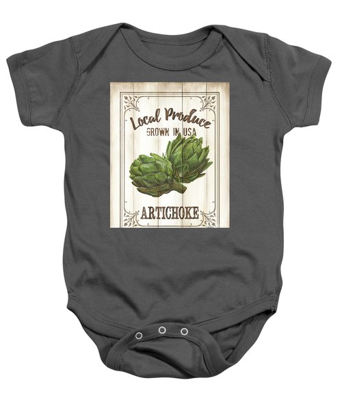 Vintage Fresh Vegetables 2 Baby Onesie by Debbie DeWitt