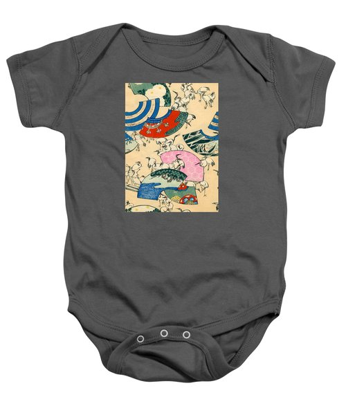 Vintage Japanese Illustration Of Fans And Cranes Baby Onesie