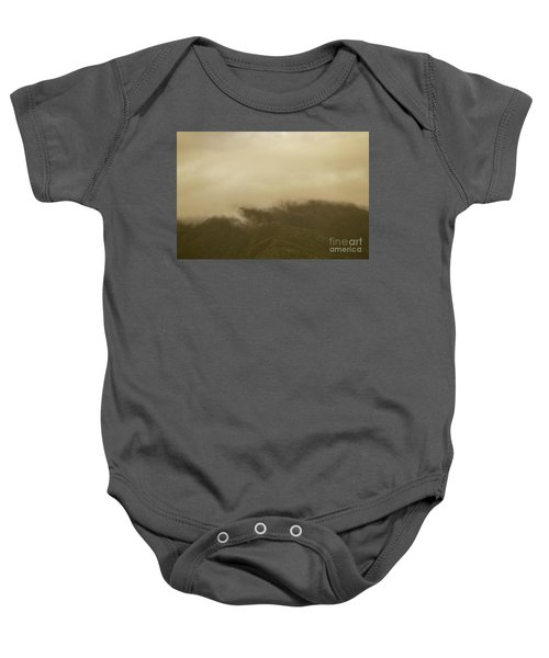 Vintage Mountains Covered By Cloud Baby Onesie
